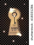 vip invitation card with gold... | Shutterstock .eps vector #618331286