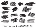 scribble brush strokes set ...