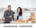 couple making fresh organic... | Shutterstock . vector #618334256