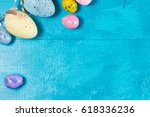 easter eggs top view close up... | Shutterstock . vector #618336236