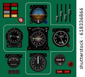 airplane instrument panel.... | Shutterstock .eps vector #618336866