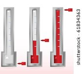 Glossy illustration showing a fundraising goal meter in three different stages - stock photo