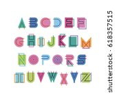 geometric font with effect of... | Shutterstock .eps vector #618357515