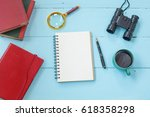 top view mock up tablet similar ... | Shutterstock . vector #618358298