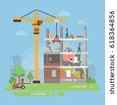 constructing new building....   Shutterstock .eps vector #618364856