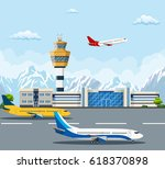 airport building and airplanes... | Shutterstock . vector #618370898