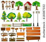 park rangers and tree products... | Shutterstock .eps vector #618387332