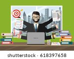 happy businessman with many... | Shutterstock .eps vector #618397658