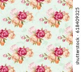 seamless floral pattern with... | Shutterstock .eps vector #618409325
