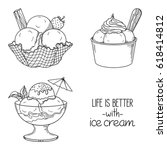 set of hand drawn ice cream... | Shutterstock .eps vector #618414812