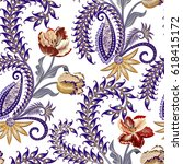 seamless pattern with paisley ... | Shutterstock .eps vector #618415172