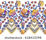 seamless border with waves blue ... | Shutterstock .eps vector #618415298