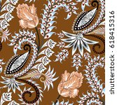 seamless pattern with paisley ... | Shutterstock .eps vector #618415316