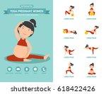 yoga pregnant women healthcare... | Shutterstock .eps vector #618422426