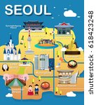 map of seoul attractions vector ...   Shutterstock .eps vector #618423248
