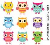 isolated cartoon owls  vector... | Shutterstock .eps vector #618427055
