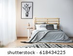 black and white bedroom with... | Shutterstock . vector #618434225