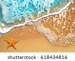 beautiful blue wave on a sea... | Shutterstock . vector #618434816
