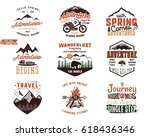 set of vintage adventure tee... | Shutterstock .eps vector #618436346