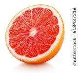 Ripe half of pink grapefruit...