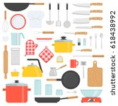 kitchen tools set. kitchenware... | Shutterstock .eps vector #618438992