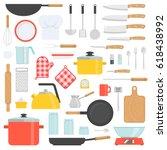 kitchen tools set. kitchenware... | Shutterstock .eps vector #618438992