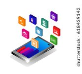 isometric mobile application ... | Shutterstock .eps vector #618439142