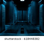 symmetric server room with rows ... | Shutterstock . vector #618448382