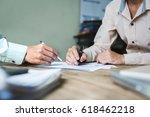 serious consultations between... | Shutterstock . vector #618462218
