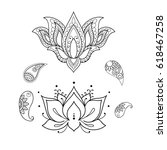 sketch of a beautiful lotus on... | Shutterstock .eps vector #618467258