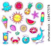 set of neon comic stickers in... | Shutterstock .eps vector #618477578