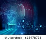 fintech icon  on abstract... | Shutterstock . vector #618478736