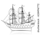 vintage ship with sails and... | Shutterstock .eps vector #618496772