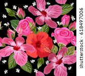 seamless pattern with hibiscus... | Shutterstock .eps vector #618497006