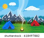 meadow with grass and camping.... | Shutterstock . vector #618497882