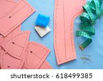 sewing pattern on fabrics ready ... | Shutterstock . vector #618499385