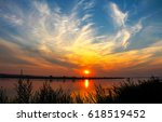 sunset river landscape | Shutterstock . vector #618519452