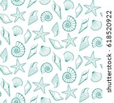 Seamless  Pattern Of Seashells...