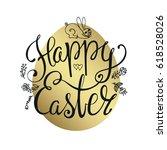 easter lettering on pattern... | Shutterstock .eps vector #618528026