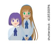 anime girl design | Shutterstock .eps vector #618530096