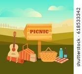 illustration of a picnic... | Shutterstock . vector #618533342