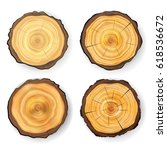 cross section tree set wooden... | Shutterstock .eps vector #618536672