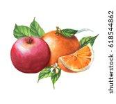 hand drawn watercolor fruits... | Shutterstock . vector #618544862