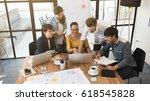 group of five creative worker... | Shutterstock . vector #618545828