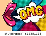 female lips with speech bubble... | Shutterstock .eps vector #618551195