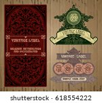 vector vintage items  label art ... | Shutterstock .eps vector #618554222