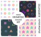 set of seamless vector... | Shutterstock .eps vector #618554732