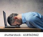 handsome business man sleeping...   Shutterstock . vector #618563462