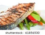 grilled salmon  steak   Shutterstock . vector #61856530