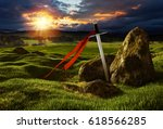 Sword On The Meadow With Stone...
